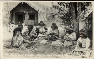 New Zealand Women Crafts Weaving THE VILLAGE GOSSIPS Real Photo Postcard dcn