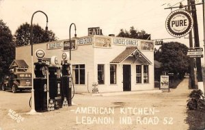 Lebanon Indiana American Kicthen Diner and Gas Station Real Photo PC AA3173