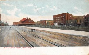 Northern Pacific Railroad Train Depot Fargo North Dakota 1908 postcard