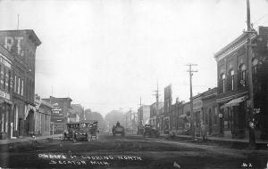 Decatur MI Dirt Phelps Street View Store Fronts Old Cars in 1922 RPPC Postcard