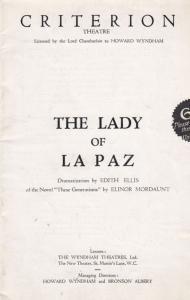 The Lady Of Paz Lilian Braithwaite Romance Criterion London Theatre Programme
