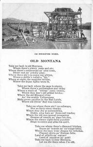 Chinook Montana~Irrigation Wheel~Old Montana Poem~1912 B&W Chas Morris Postcard
