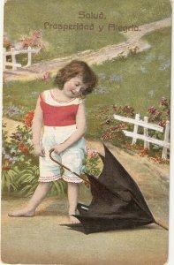 Little gitl with her umbrella Old vintage Spanish greetings postcard