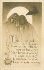 Holidays topical vintage postcard Halloween Witches bat moon U.S. Postage
