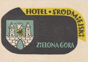 Poland Zielona Gora Hotel Srodmiejski Vintage Luggage Label sk1613