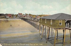 Old Orchard Maine~Beach and Pier at Low Tide~1950s L&V Postcard