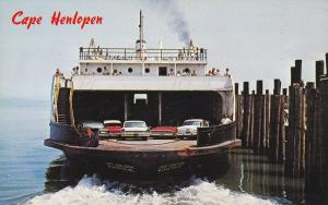 DELAWARE, 1950-1960's; The Cape Henlopen Leaving Dock, Ferry, Classic Cars