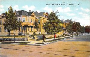 Louisville Kentucky~Broadway Street Homes~Man at Corner~Little Boy~1913 Postcard