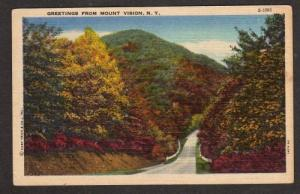 NY Greetings from MOUNT VISION NEW YORK Linen Postcard