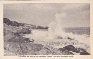Massachusetts Rockport Surf Near The Devils Den Albertype