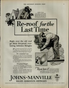 1927 Johns Manville Fire Proof Shingles Roof Man on Roof Vintage Print Ad 3904