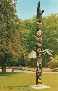 London Ontario~Storybook Gardens~Totem Pole~1960s postcard