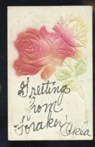 GREETINGS FROM FORAKER OKLAHOMA VINTAGE LARGE RED ROSE POSTCARD OKLA.