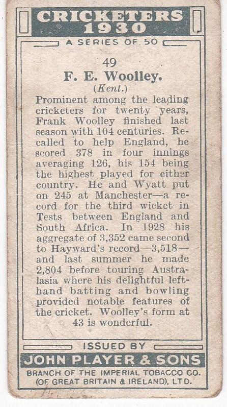 Cigarette Cards Player's Cricketers 1930 No 49 - F E Woolley