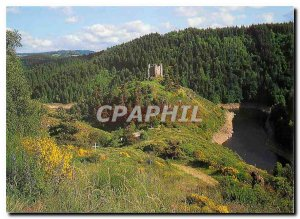 Postcard Modern bathed by the dam Grandval Cantal Feodales the Ruins of Alleuze