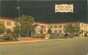 Autos Hotel Alice Roadside Texas 1940s Postcard MWM linen 6233
