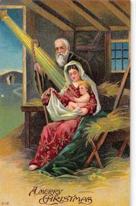 Merry Christmas Manger Scene Baby Jesus Mary Antique Postcard K44864