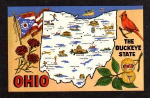 OH Buckeye State Map OHIO Postcard Piqua Elyria Flag