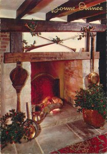 Postkarte Merry Christmas picturesque room image fireplace