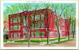 1940s Kirksville, Missouri Postcard HIGH SCHOOL Street View - Kropp Linen