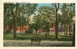 Lewiston, Maine, ME, View from City Park, Antique Vintage Postcard c9464