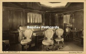 Batavier Line Rotterdam - London Steamer Batavier II, Smoking Room (1910s)