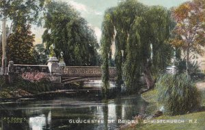 NEW ZEALAND, 1900-1910's; Gloucester St. Bridge, Christchurch