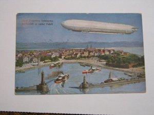 Postcard Germany Graf Zeppelin Harbor Scene 1909 Postmark Danube River Ulm City