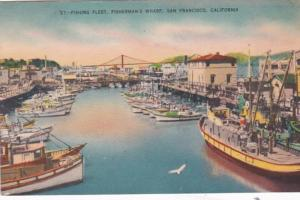 California San Francisco Fisherman's Fleet At Fisherman's Wharf 1955