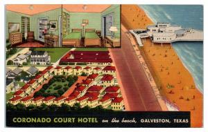 1956 Coronado Court Hotel on the Beach, Galveston, TX Postcard *5E4