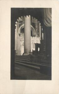 Huge Pillar Seen Thru Arch~Catholic? Church Interior~Real Photo Postcard c1913