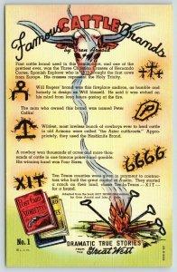 Dramatic True Storiette~Great West~Cattle Brands~Oren Arnold~No 1~1943 Linen