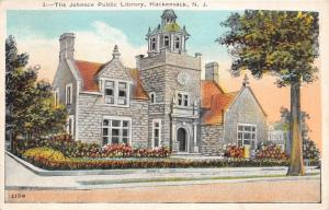 Hackensack New Jersey~Johnson Public Library~Stone Building with Clock~1924 PC