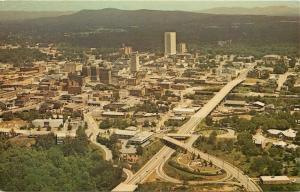 Greenville SC Business, Industries, Downtown Shops Aerial View~1970s Postcard