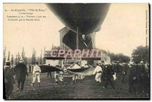 Old Postcard Jet Aviation Zeppelin Airship City of Nancy L & # 39atterrissage...