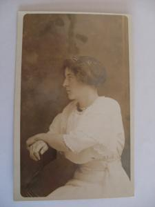 pre-1918 rppc PRETTY RICH GIRL WITH PEARL NECKLACE & WHITE DRESS Postcard y6398