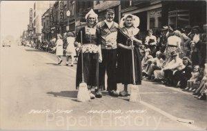 c.1930s Holland Michigan Main Street Scene RPPC Tulip Time Parade & Party