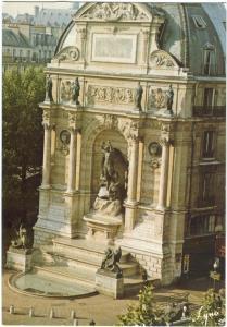 France, Paris, La Fontaine St. Michel, Fountain, 1983 used Postcard