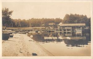 Sebabo Lake Maine Pier Beach Docked Boats Real Photo Antique Postcard K10484