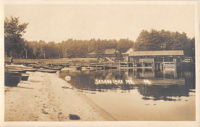 Sebabo Lake Maine Pier Beach Docked Boats Real Photo Antique Postcard K10484