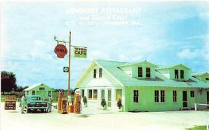 Newberry FL Shell Gas Station Old Car Pumps Postcard