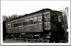 Vintage 1950s RPPC Real Photo Postcard Trolley Streetcar in Rail Yard - Unused