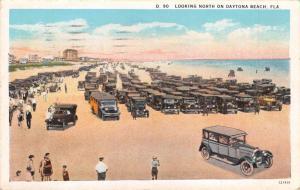 DAYTONA BEACH FLORIDA LOOKING NORTH~CARS & BUS POSTCARD 1929