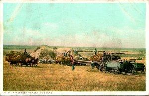 Vtg Postcard 1930s - A Western Threshing Scene Farming Detroit Publishing Unused