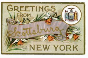 Scottsburg, New York to Wellsboro, Pennsylvania 1917 Greetings Postcard