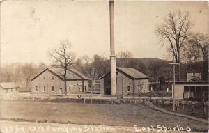 E79/ East Sparta Ohio RPPC Postcard Stark County Leiter 1916 Oil Pump Station 2