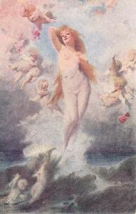 Venus anadyomene by Benczur cherubs early art postcard