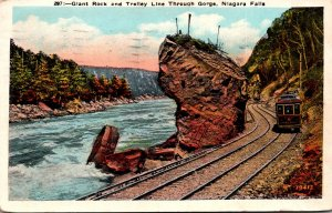New York Niagara Falls Giant Rock and Trolley Line Through Gorge 1928