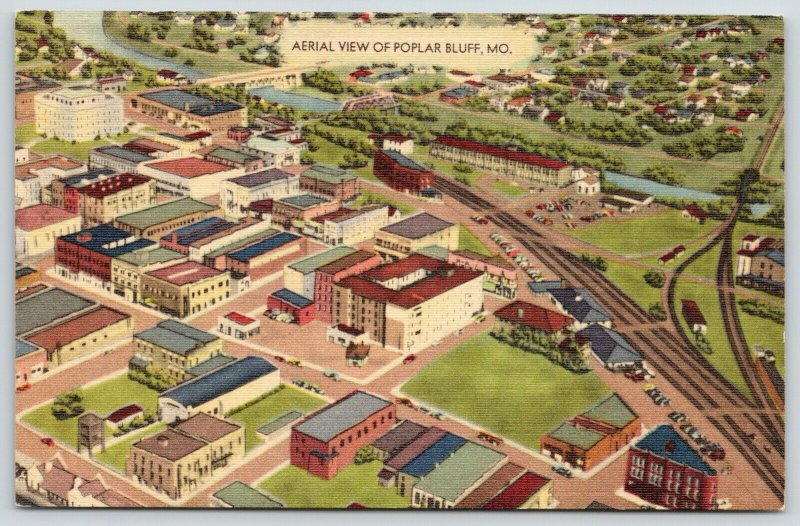 Poplar Bluff Missouri~Railroad Depot~Aerial View~Courthouse 1940s Linen Postcard