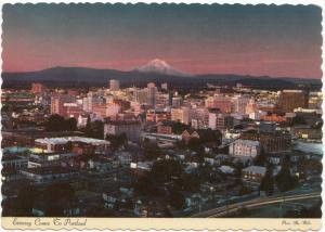 Evening Comes to Portland, Oregon, Postcard